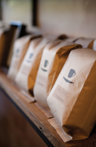 Bags printed with Ninth Street's logo.