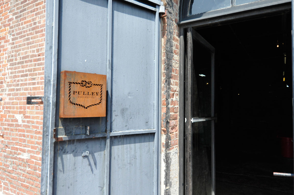 The front door to Pulley Collective.