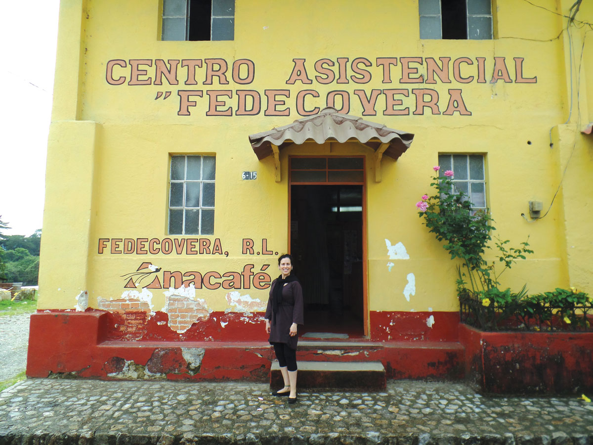 Author Linda Villano at Fedecovera's headquarters in Cobán.