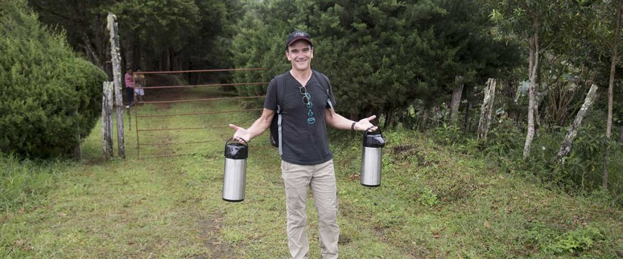 Willem Boot with two airpots of his geisha. A lot from Finca la Mula recently won the Best of Panama competition and sold for $107 a pound.