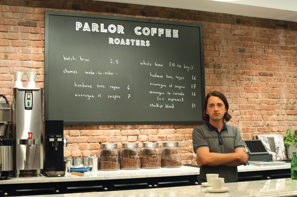 Dillion Edwards in Parlor Coffee's new location in Fort Greene.