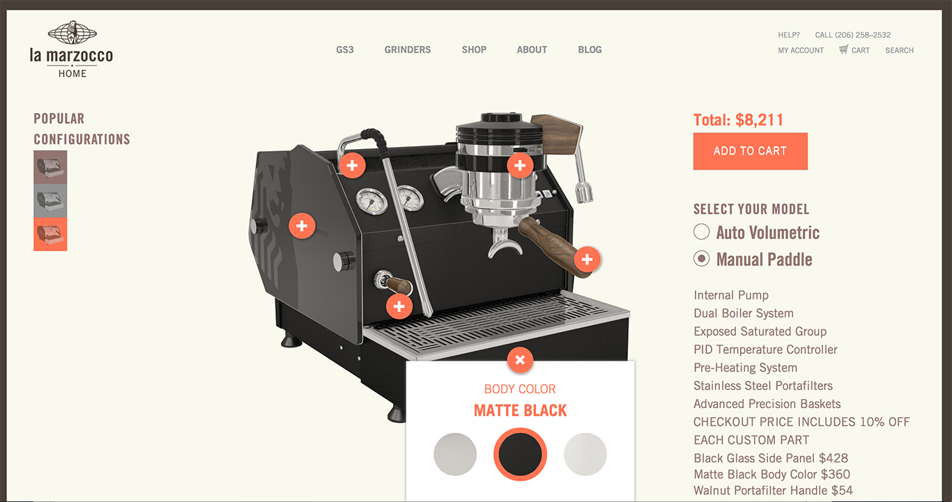 The site offers a range of aesthetic customizations. Note the price. (Photo: courtesy La Marzocco.)