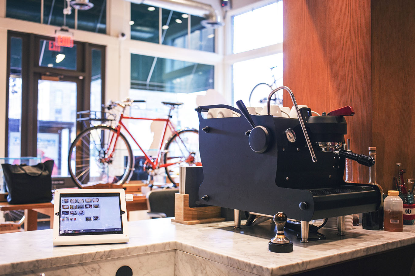 For its first few months, the café had a single-group Synesso. The machine couldn't quite keep up with orders. A two-group Synesso handles things well. (Photo: courtesy Dogwood Coffee.)