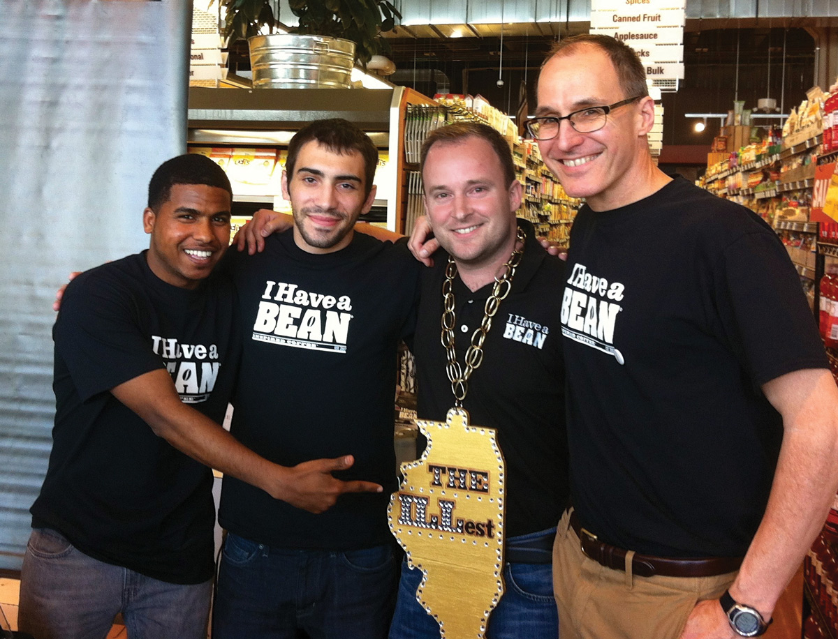 Intern Tekeste Gebreslasse, Kalvin Beulle, Mike Herrick, and volunteer Rob Lewis after I Have a Bean won the ILLest Award for best Illinois coffee. (Photo: courtesy I Have a Bean.)