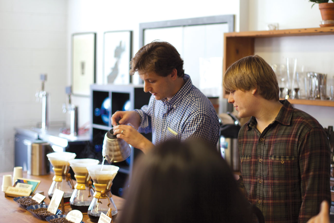 David and Noah Belanich prepare coffee at the offices of Barrel, a web design and development company in New York City. (Photo: courtesy Joyride.)