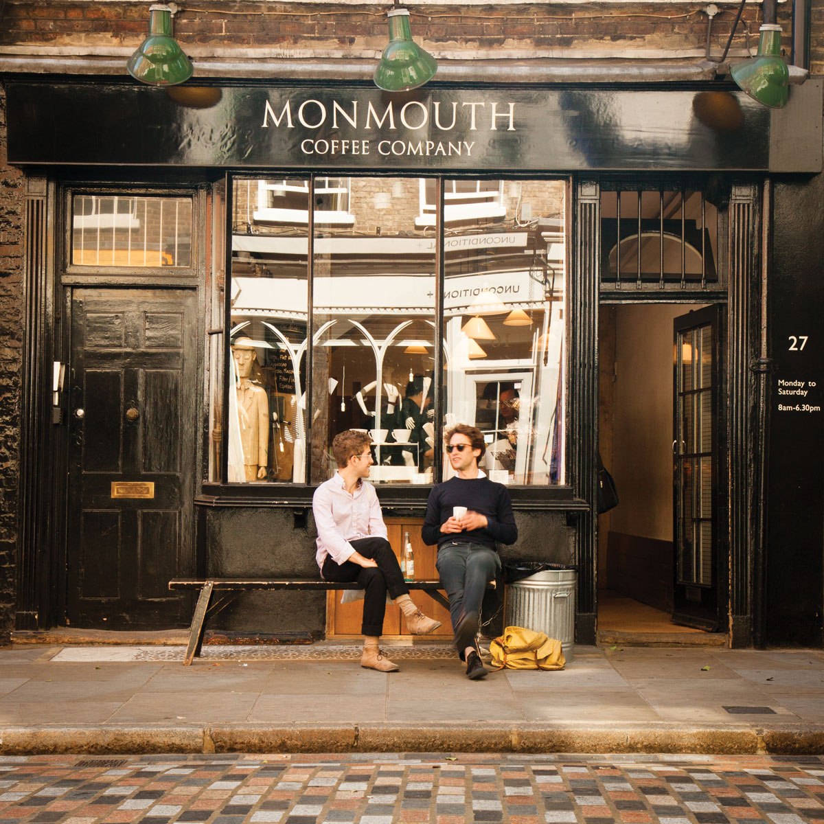 Monmouth's Café in Covent Garden. While the café serves excellent espresso drinks, the main business is selling bags of whole beans. (Photo: courtesy Monmouth Coffee Company.)
