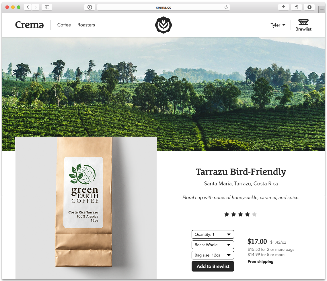 Choosing a coffee on crema.co.