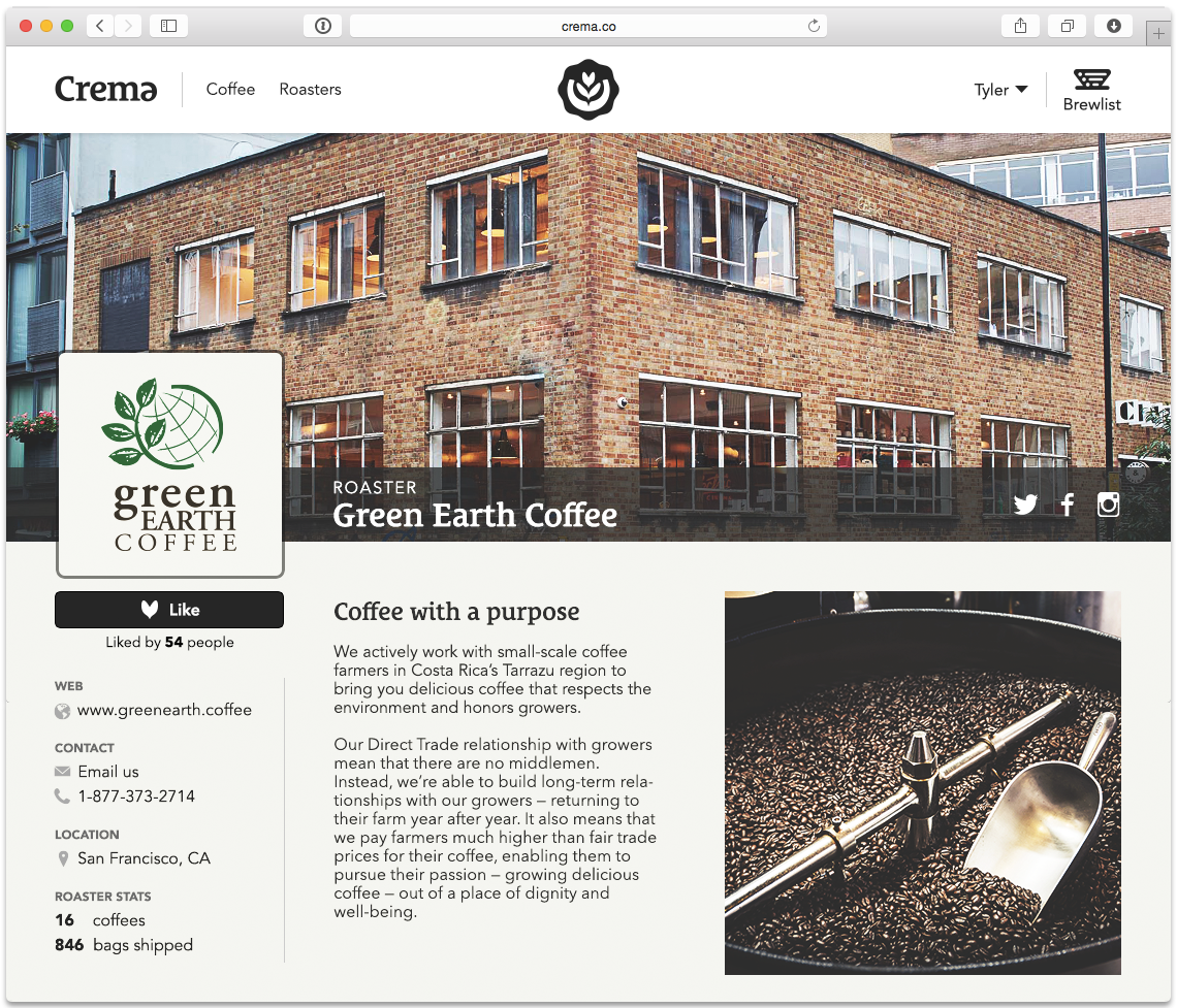 The crema.co Roaster page.
