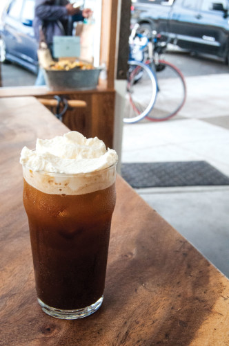 The snowy plover from Andytown Coffee Roasters in San Fransico. The drink combines soda water, syrup, and espresso into a fizzy bit of joy. (Photo: Jessica Copi.) Photo at top of story is Pollock's kefir pop at Bodhi Coffee in Philadelphia. (Photo: Jessica Kourkounis.)