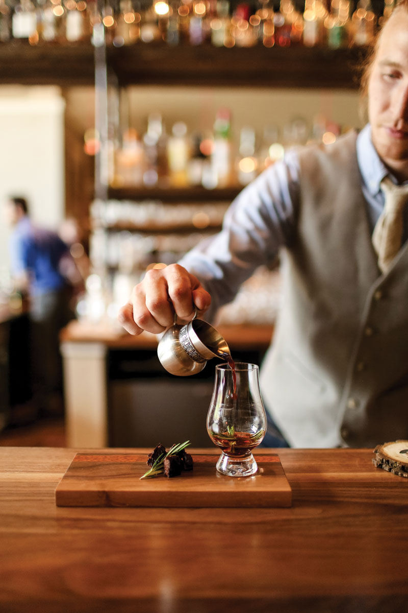 The Forest Fire is prepared at Archive Coffee and Bar. The cocktail includes gin, espresso, Chartreuse, and a Douglas fir tincture. (Photo: courtesy Archive Coffee and Bar.)