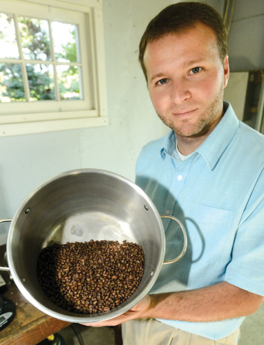 Weston with his roasted beans.