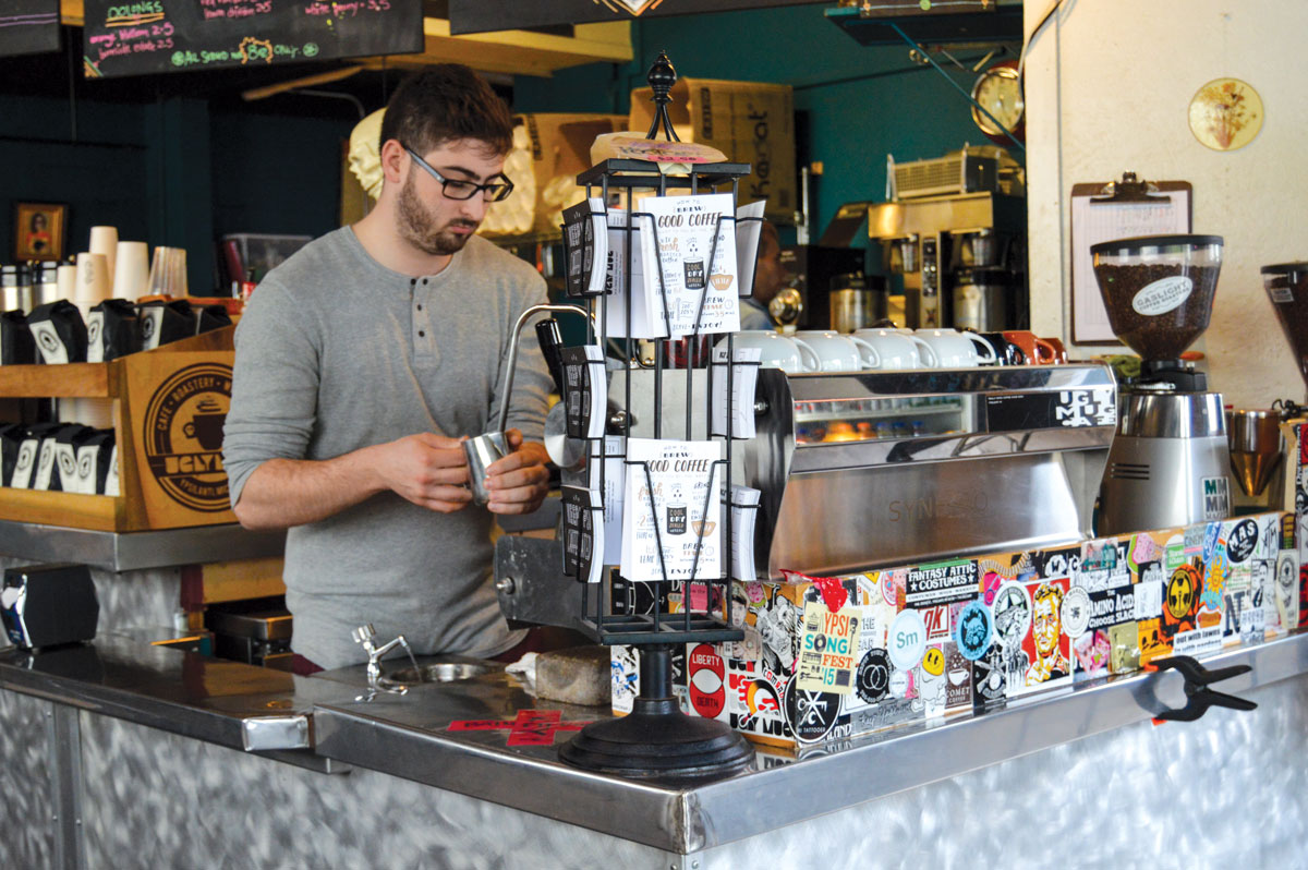 A barista at the Mug.