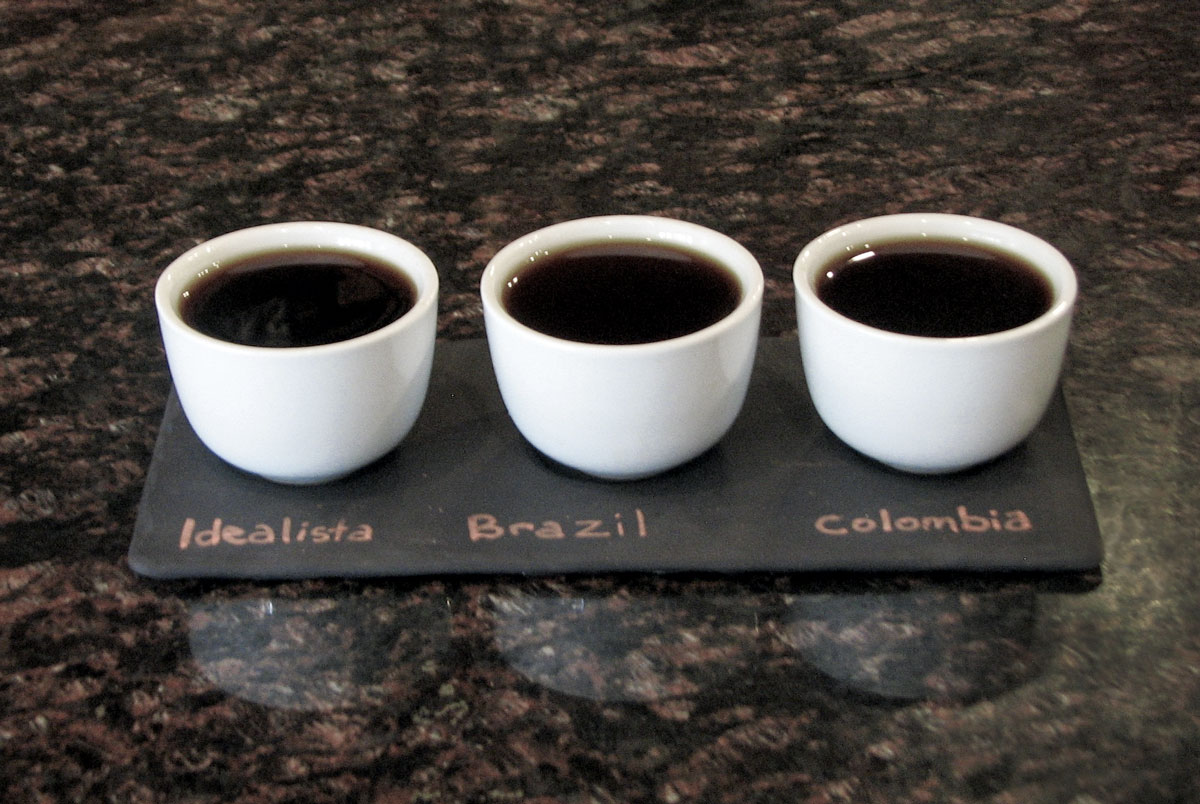 A coffee flight laid out at Qualia Coffee in Washington, DC.