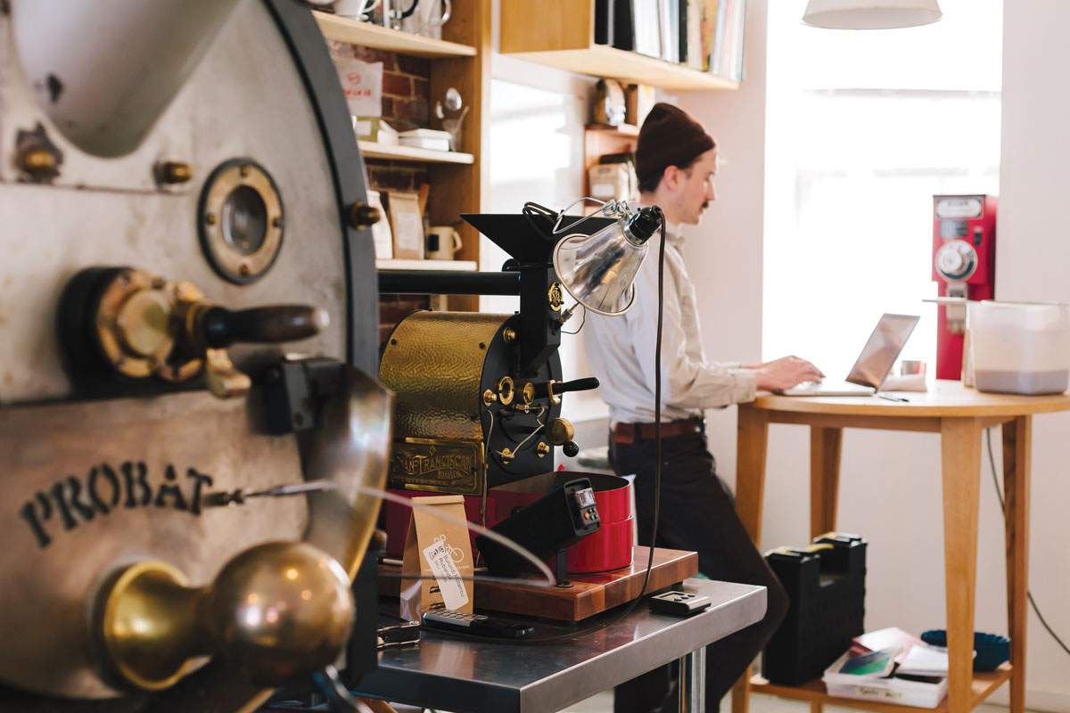 Tandem's first location and roastery.