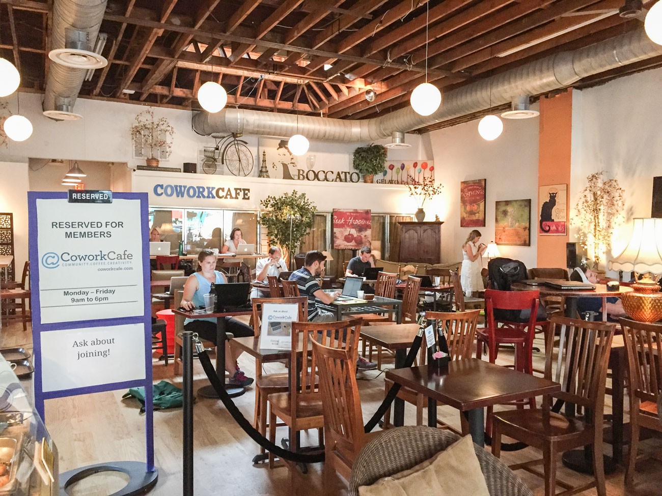 CoWorkCafé is based in Arlington, Virginia, and shares room with another coffee shop. (Photo: courtesy CoWorkCafé.)