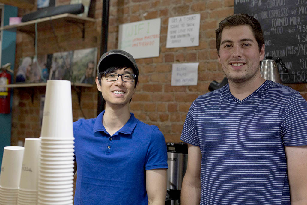 Yu Chen and Dan Hildebrandt at the bar at Uptown Roasters.