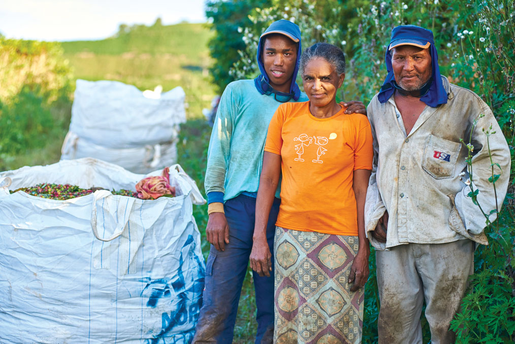 Renilson's brother Jonas (left) and his parents Luzita and Adão also travelled with him to work at the farm.