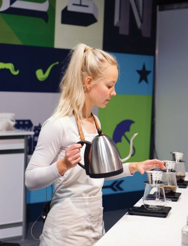 Mikaela Wallgren from Copenhagen's Coffee Collective competes at the 2016 World Brewers Cup Championships in Dublin.