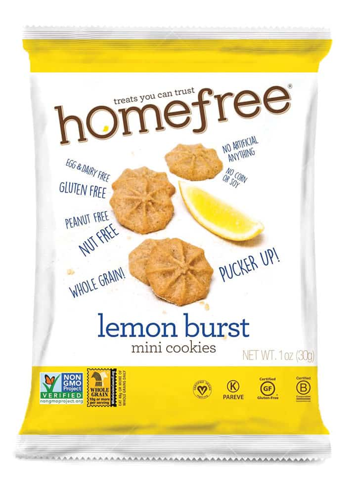 Homefree Lemon Burst Gluten-Free, Nut-Free, Dairy-Free Snack. Allergy-friendly snacks.