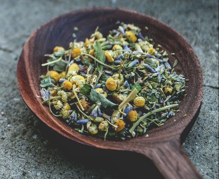 Chamomile and lavender herbal tisane; farm-to-table tea.