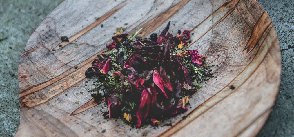 North America's only native tea-like plant, yaupon, blended with blackberry leaf, elderberry, hibiscus, roselle, and rose hips and petals; farm-to-table tea.