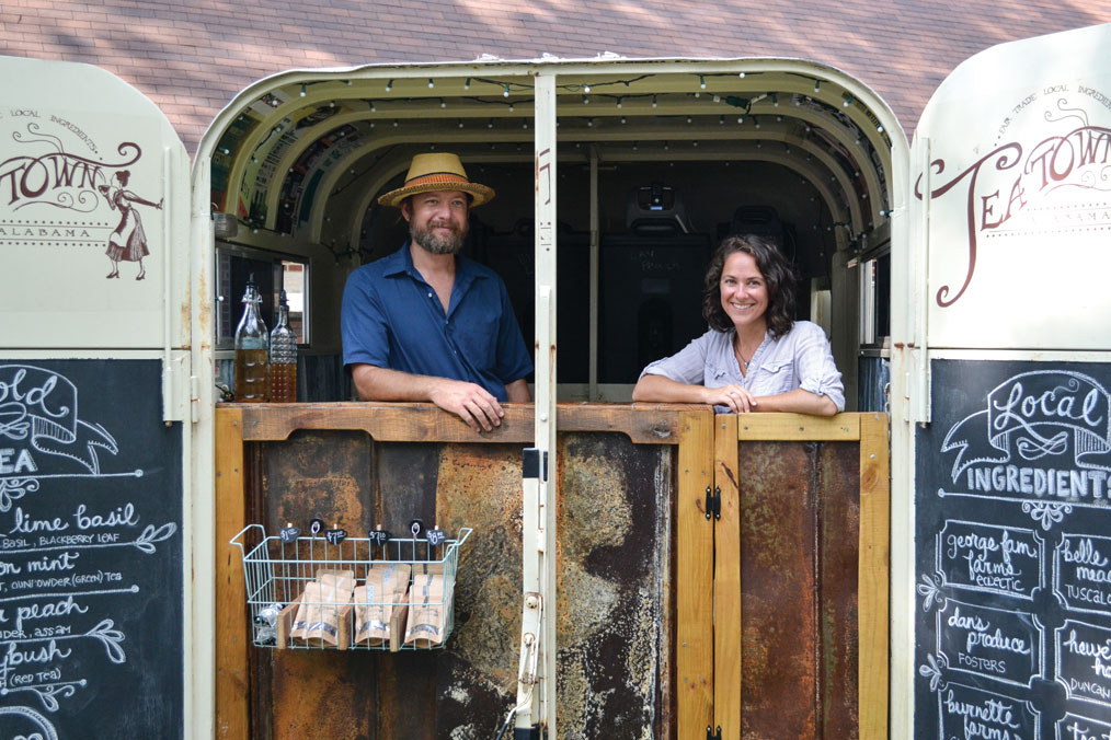 Jonathan and Becca Gardner in their mobile tea truck; farm-to-table tea.