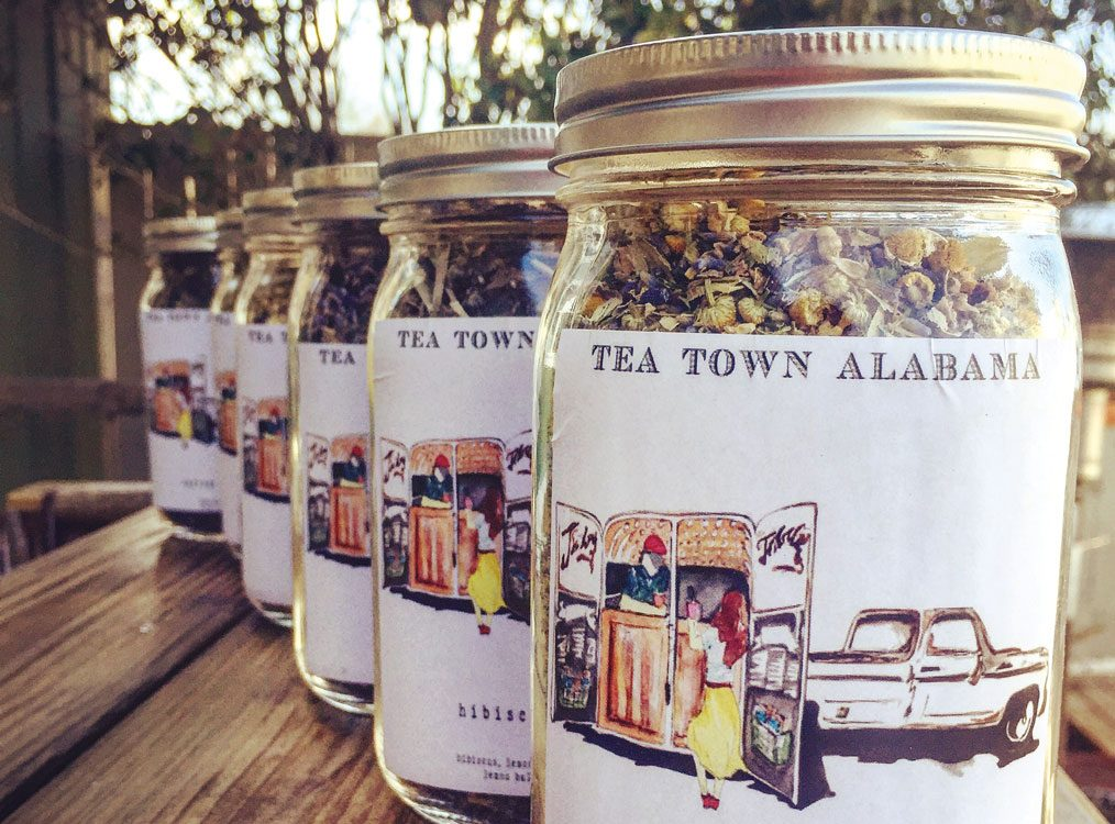 Jars of Tea Town Alabama tea; farm-to-table tea.