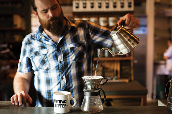 Pour overs in Artifact Coffee